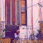 Woman balcon cropped nostalgic